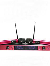 uhf Metall Funkmikrofon mit Bildschirm 100m Entfernung 2-Kanal-Handmikrofon-System Karaoke-Funkmikrofon