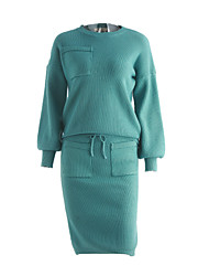 Women's Going out Sexy Fall Set Skirt Suits,Solid Round Neck Long Sleeve Black / Green Cotton Medium
