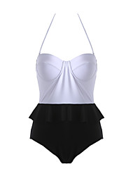 Women's Ruffle  Push Up Peplum One Piece Bathing Suit Swimwear