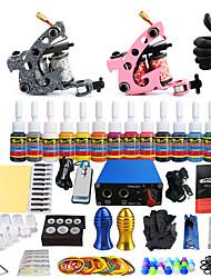Starter Tattoo-Kits 2 x Gusseisen-Tattoomaschine für Umrißlinien und Schattierung Mini Stromversorgung5 x Tattoonadeln RL 3 5 x