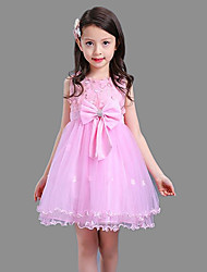 Ball Gown Short / Mini Flower Girl Dress - Cotton Satin Tulle Sleeveless Jewel with Bow(s) Embroidery Sash / Ribbon