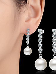 Imitation Pearl Drop Earrings Ball Earrings Jewelry Wedding Party Daily Casual Alloy 1 pair Silver