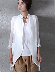 Women's Going out Simple Shirt,Solid Stand Long Sleeve Linen
