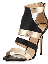 Sandals Summer Club Shoes Gladiator Leatherette Office & Career Party & Evening Dress Casual Stiletto Heel Split Joint Zipper Silver Gold