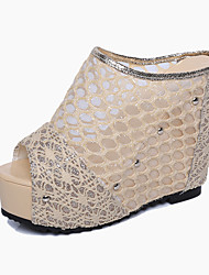 Women's Sandals Summer Club Shoes PU Casual Wedge Heel Others Black Beige Other