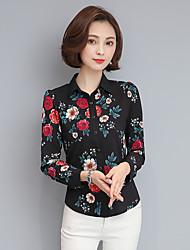 Spot really making 2017 spring new printing Slim long-sleeved shirt lapel jacket female chiffon shirt