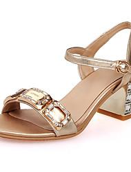 Sandals Spring Summer Fall Club Shoes Cowhide Wedding Party & Evening Dress Chunky Heel Crystal Heel Rhinestone Buckle Crystal HeelYellow