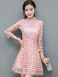 Feminino Rendas Vestido, Casual Simples Sólido Retalhos Colarinho Chinês Acima do Joelho Manga Longa Rosa Algodão Primavera Cintura Média