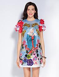 Femme Broderie Gaine Robe Sortie Mignon,Imprimé Col Arrondi Au dessus du genou Manches Courtes Bleu Polyester Printemps Eté Taille NormaleNon