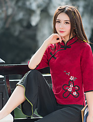 Women's Wedding Daily Street Chinoiserie Spring Fall Blouse,Embroidery Stand Long Sleeves N/A Medium