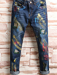 Men's Mid Rise Micro-elastic Jeans Pants,Simple Straight Print