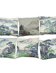 Set of 6 Chinese painting pattern  Linen Pillowcase Sofa Home Decor Cushion Cover (18*18inch)