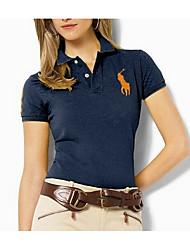 Dames Eenvoudig T-shirt,Uitgaan Effen Overhemdkraag Korte mouw Zijde