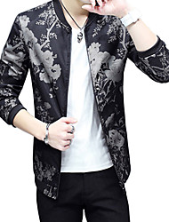 Going out Casual/Daily Vintage Simple JacketFloral V Neck Long Sleeve Spring Fall Machine wash Acrylic Polyester Regular 916581