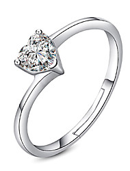 Ring Wedding Party Special Occasion Jewelry Platinum Plated Heart Zircon Ring 1pcAdjustable Silver