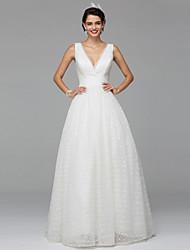 Lanting Bride® Robe de Soirée Robe de Mariage  Tout Simplement Superbe Longueur Sol Col en V Dentelle Tulle avec Drapée Dentelle