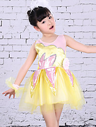 Children's Ballet Dance Dress Performance Polyester Splicing 1 Pieces Sleeveless Dress Yellow Kid's Dancewear