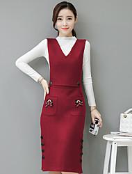 подписать в 2016 году зима новый корейский тонкий длинный участок женской трех частей платье отправить пассивом рубашку