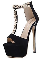 sandálias sapatos clube de verão cadeia stiletto vestido de lã calcanhar