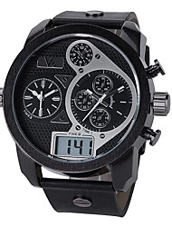 Unissex Relógio de Moda Relógio de Pulso Quartzo Mostrador Grande Lega Banda Legal Preta Branco Preto
