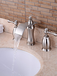 Contemporary Widespread Waterfall with  Brass Valve Three Handles Three Holes for  Nickel Brushed , Bathroom Sink Faucet