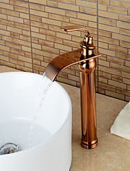 Contemporary Centerset Waterfall with  Ceramic Valve Single Handle One Hole for  Rose Gold , Bathroom Sink Faucet
