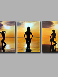 Pintados à mão Pessoas Lazer Vertical,Moderno 3 Painéis Tela Pintura a Óleo For Decoração para casa