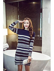 Q Sign in Japan and South Korea new winter long sweater hedging loose round neck striped knit skirt