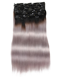 """9Pcs/Set Deluxe 120g 1b/Grey Ombre Black Grey Clip In Hair Extensions 16"""" 20"""" 100% Human Hair"""