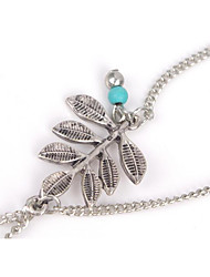 Femme Bracelet de cheville/Bracelet Alliage Mode Hypoallergique Simple Style Forme de Feuille Argent Aux femmes BijouxSoirée Quotidien