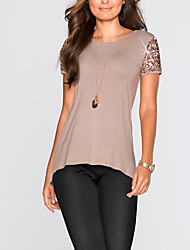 Damen Patchwork Einfach Street Schick Ausgehen Lässig/Alltäglich T-shirt,Rundhalsausschnitt Sommer Herbst Kurzarm Polyester Mittel