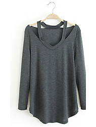 HOTS-3XL Plus SizeWomen's Going out Casual/Daily Sexy Street chic T-shirtSolid Round Neck  Sleeve Blue Pink Purple Cotton