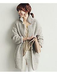 Women's Casual/Daily Simple Regular Cardigan,Solid Shirt Collar Long Sleeve Cotton Spring Fall Medium Micro-elastic