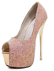 Damen-High Heels-Kleid-Stoff-Stöckelabsatz-Andere-Schwarz Rosa Weiß