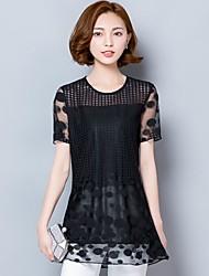 реальный выстрел летом 2017 года женщин большого размера&# 39; s 200 фунтов жира мм длинный отрезок с короткими рукавами футболки