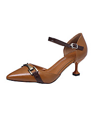 Heels Summer Club Shoes Leatherette Outdoor Party & Evening Dress Stiletto Heel Buckle Dark Brown Army Green Beige Walking
