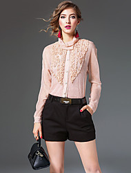 Women's Work Sophisticated Spring Blouse,Solid Patchwork Turtleneck Long Sleeve Pink Black Silk Thin