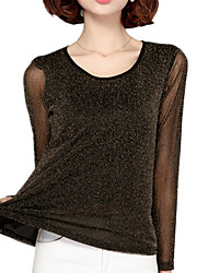 Women's Going out Casual/Daily Street chic Spring T-shirt,Solid Round Neck Long Sleeve Polyester Thin