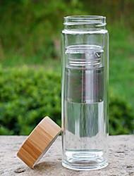 Transparente Artigos para Bebida, 600 ml Filterable retenção de calor Parede dupla Vidro chá Água Garrafas de Água