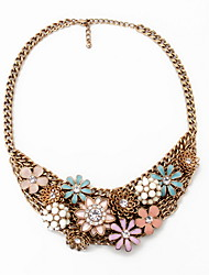 Women's Choker Necklaces Jewelry Jewelry Gem Alloy Flower Style Fashion Personalized Euramerican European Bronze Jewelry ForParty Special