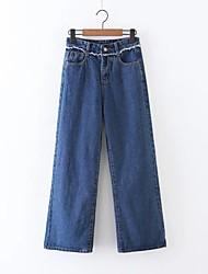 Damen Lose Gerade Jeans Chinos Hose-Ausgehen Lässig/Alltäglich Einfach Street Schick einfarbig Mittlere Hüfthöhe Reisverschluss Kordelzug