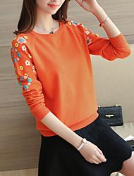 die neue Frühlingsblumenstickerei Rundhals Pullover Absicherung Pullover Bodenbildung Shirt mit langen Ärmeln Frauen&# 39; s Frühling