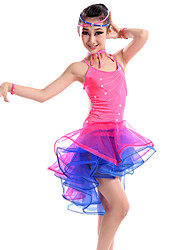 Latin Dance Dresses Children's Performance Milk Fiber Crystals/Rhinestones 5 Pieces Sleeveless Natural Dress Dance Costume