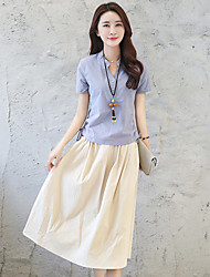 2017 # new leisure loose cotton dress two-piece female Korean Slim stylish short-sleeved suit skirt