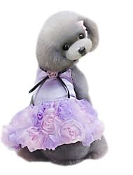Chien Robe Vêtements pour Chien Eté Fleur Mignon Mariage Mode Gris Violet Rose