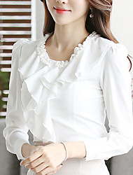 Women's Going out Work Simple OL Style Chiffion All Match Street chic Spring Fall Ruffle ShirtSolid Round Neck Long Sleeve Medium