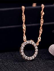 Colares com Pendentes Zircônia cúbica Formato Circular Zircão Cobre Circular Pingente Moda Estilo bonito Prata Ouro Rose Jóias Para