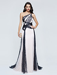 TS Couture® Celebrity Formal Evening Dress - Color Block A-line One Shoulder Sweep / Brush Train Sequined with Sequins Pleats