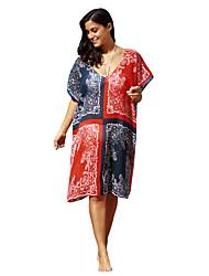 Women's Boho Navy Red Ethnic Print Sheer Caftan Cover Up