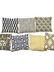 7 PC Lino Funda de almohada Cobertor de Cojín,Novedad Con Texturas Vida Salvaje Refranes y citas SólidoCasual Oficina/ Negocios